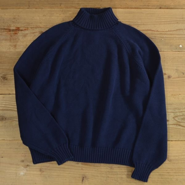 画像1: LANDS`END Turtle Neck Cotton Knit Sweater