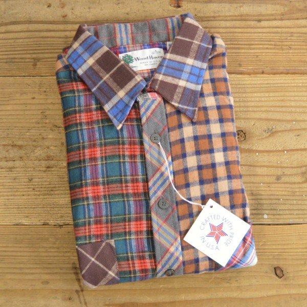 画像1: Wood Haven Crazy Pattern Flannel Shirts MADE IN USA Dead Stock 【Large】