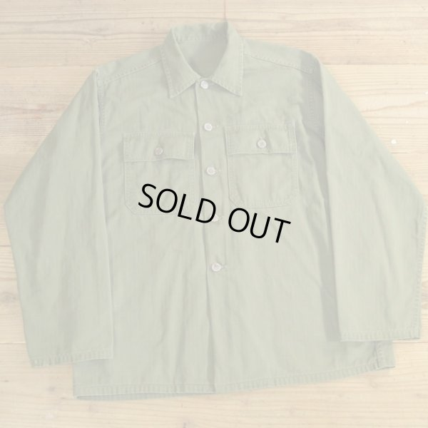 画像1: 50s US ARMY Herringbone Utility Shirts 【Large】