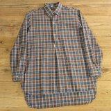 70年代 blanche porte フランネル チェック グランパシャツ フランス製 【39/40】
