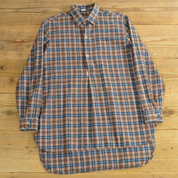 画像1: 70年代 blanche porte フランネル チェック グランパシャツ フランス製 【39/40】