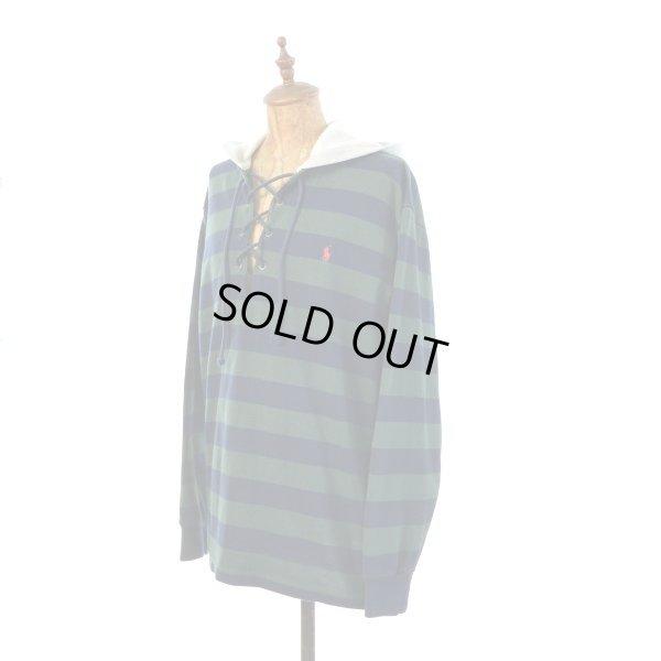 画像1: Polo Ralph Lauren ポロ ラルフローレン レースアップ フード付き ラガーシャツ 【約 Mサイズ】