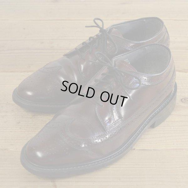 画像1: Unknown Long Wing Tip Leather Shoes