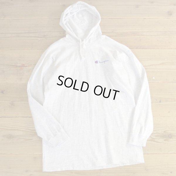画像1: 90s Champion Long T-Shirts with Hood MADE IN USA 【Large】