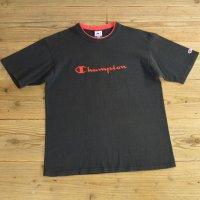 90年代 Champion チャンピオン ロゴ 刺繍 Tシャツ USA製 【Lサイズ】
