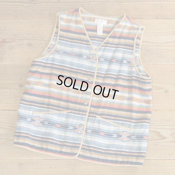 画像1: JONES NEW YORK Native Pattern Linen Vest 【Medium】